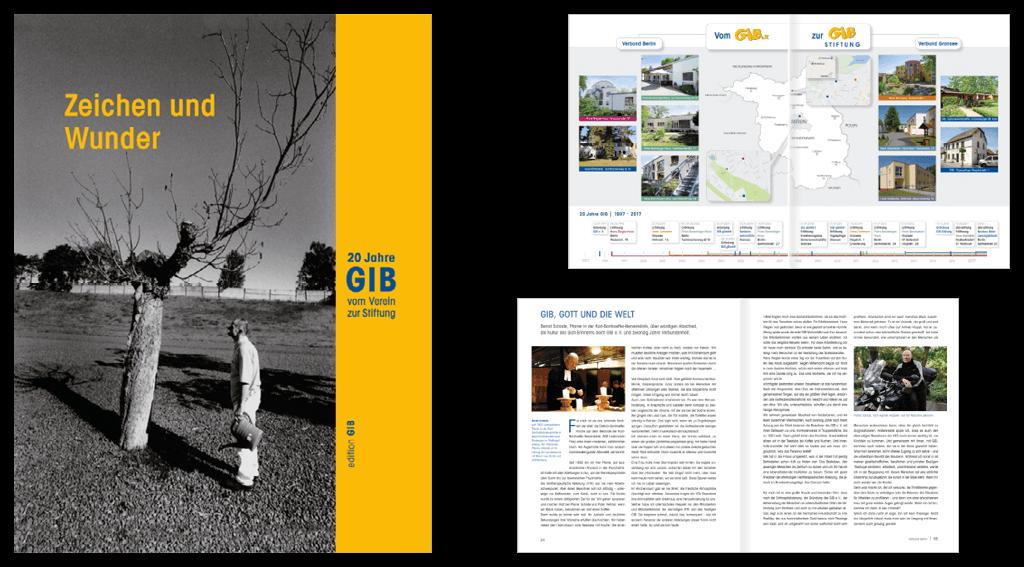 GIB e. V. | Gestaltung der 152-seitigen Festschrift, 20 Jahre GIB | »Zeichen und Wunder«