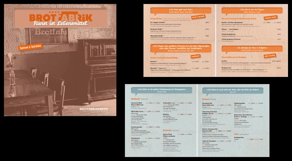 Brotfabrik Berlin | Gestaltung der Speisekarte für die Brotfabrikkneipe
