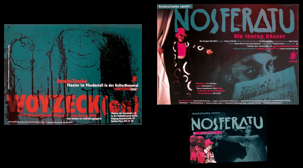 Sonnenuhr e. V. / Theater RambaZamba | Gestaltung des Plakates »Woyzecken« und des Plakates und Broschüre »Nosferatu« für Theateraufführungen