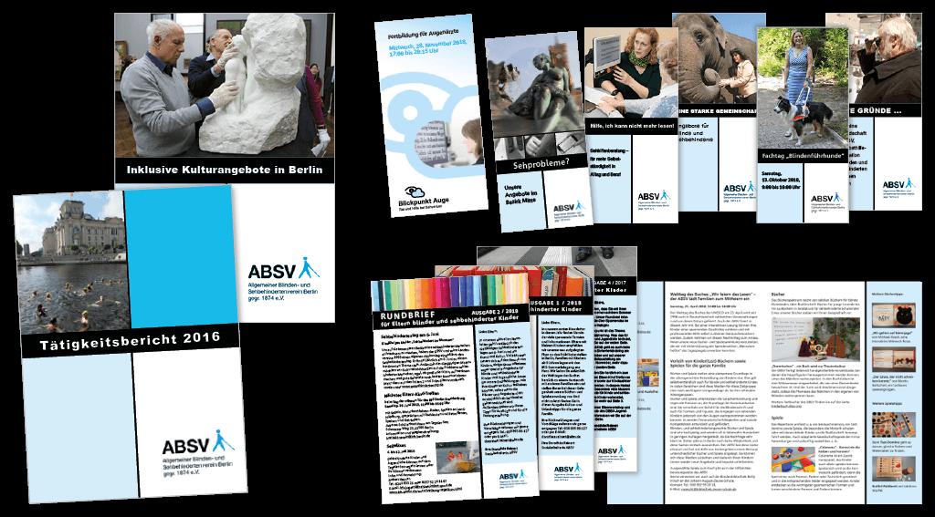 Allgemeiner Blinden- und Sehbehindertenverein Berlin gegr. 1874 e. V. (ABSV) | eine Auswahl von Broschüren und Faltblättern, gestaltet nach CI, Erstellung von barrierefreien PDFs