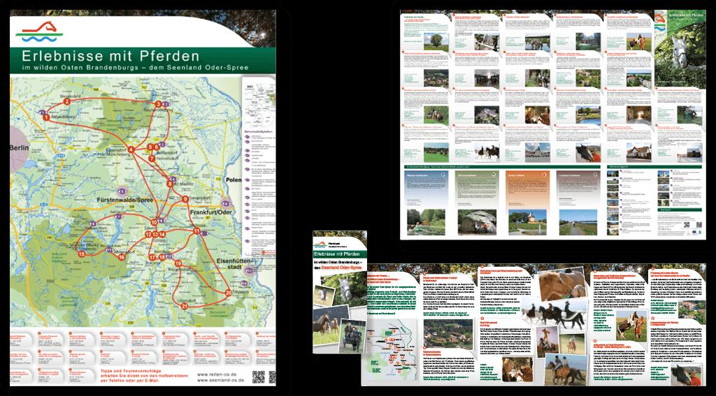LAG Oderland | Gestaltung von Plakat und Plakatrückseite, 12-seitiges Faltblatt »Erlebnisse mit Pferden«, Erstellung von Informationskarten