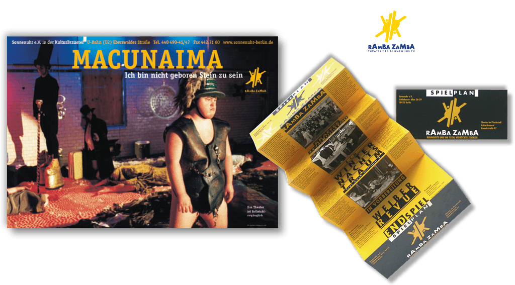 Sonnenuhr e.V. | Theater RambaZamba | Logoentwicklung, Plakate, Flyer, Geschäftsausstattung