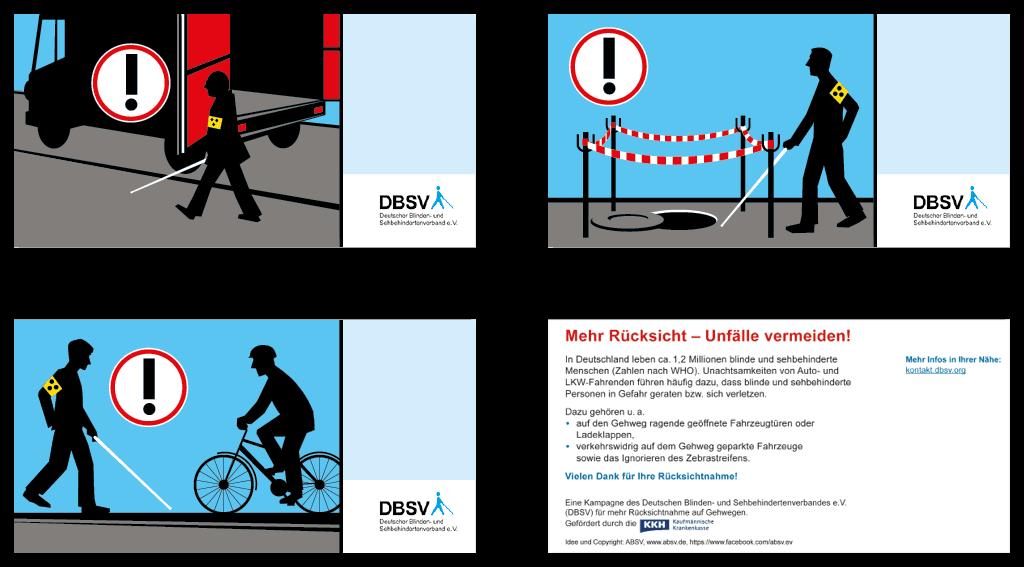 DBSV (Deutscher Blinden- und Sehbehindertenverband) | Postkartenmotive | »Mehr Rücksichtnahme – Unfälle vermeiden«