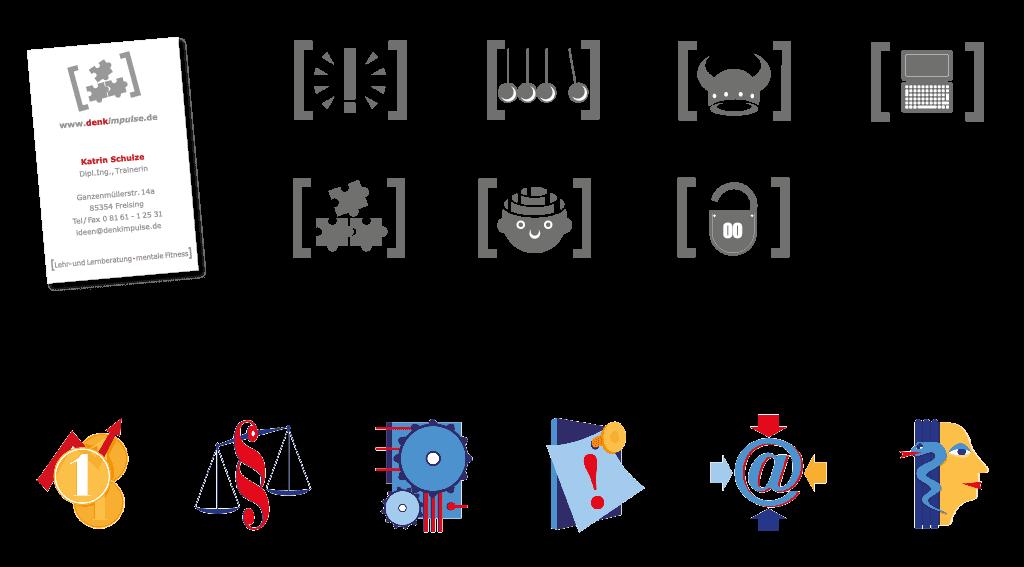 Piktogramme für Denkimpulse und die Zeitschrift »Guter Rat« | für Rubriken: Geld, Recht, Technik, Pinnwand, E-Mail, Gesundheit