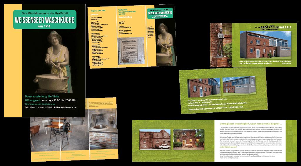 Gestaltung von Plakat, Flyer für die Ausstellung im »Weißensee Waschküche« und Flyer »Brotfabrikgalerie«